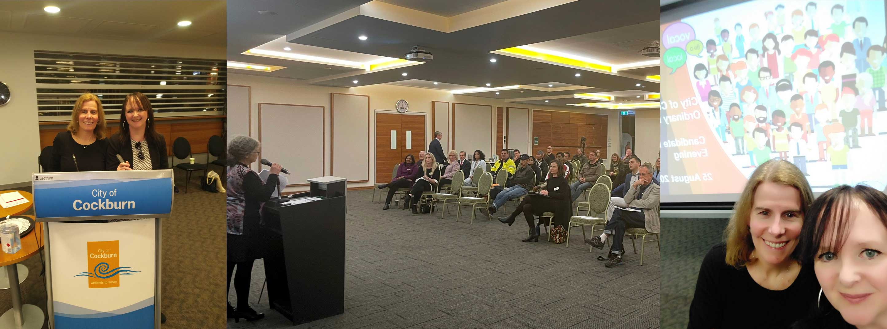 Montage of photos from local government information sessions