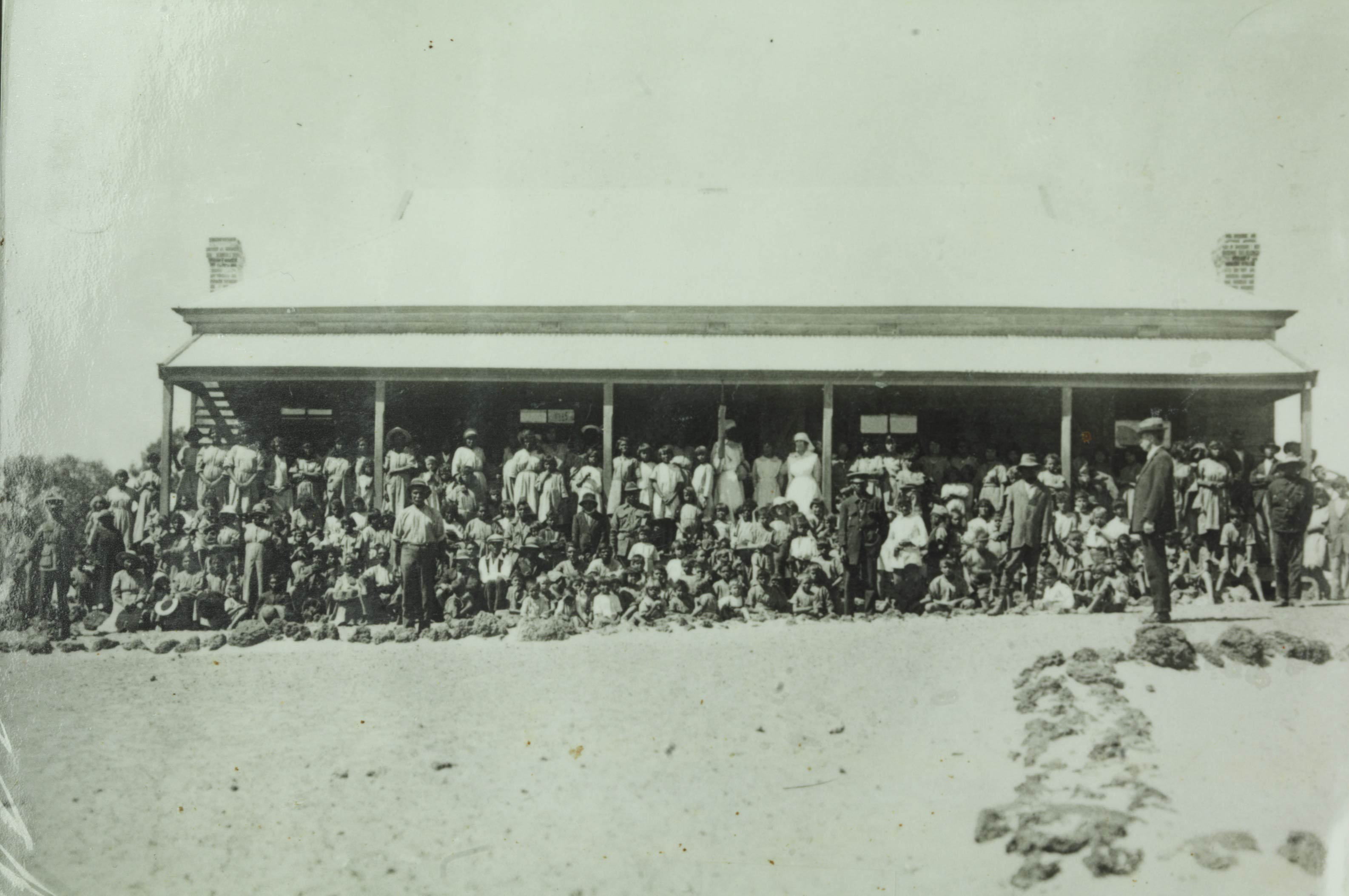 Histoic photo of the inmates at Moore River Native Settlement