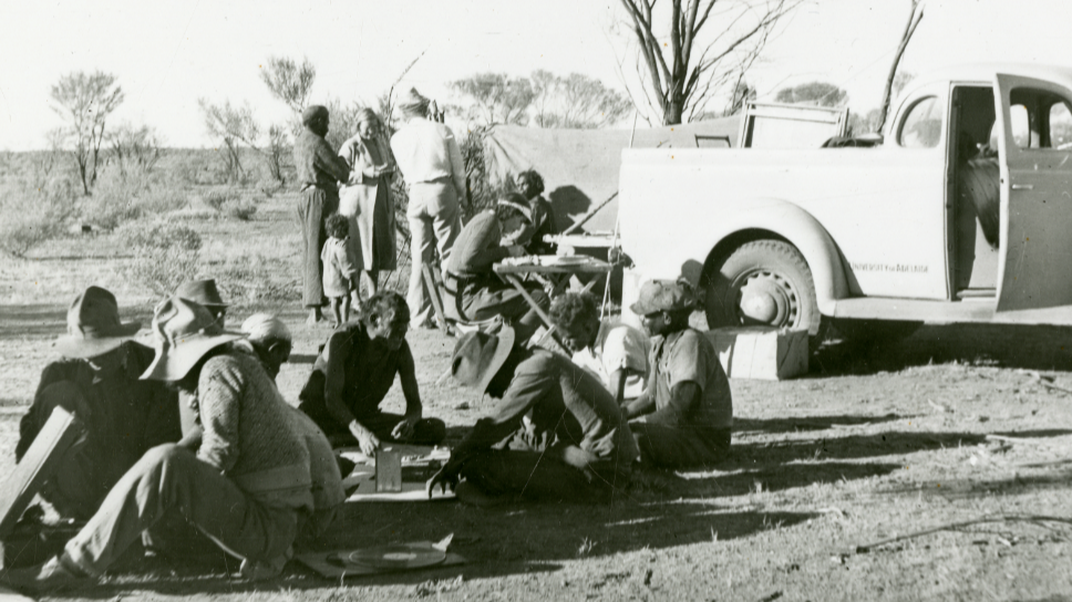 A historic image of Aboriginal people at a camp