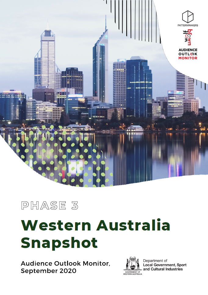 C:\Users\gwhite\DLGSC\DLGSC Website - Documents\Content\Images\Audience Outlook Monitor Phase Three September 2020 — Western Australia Snapshot cover