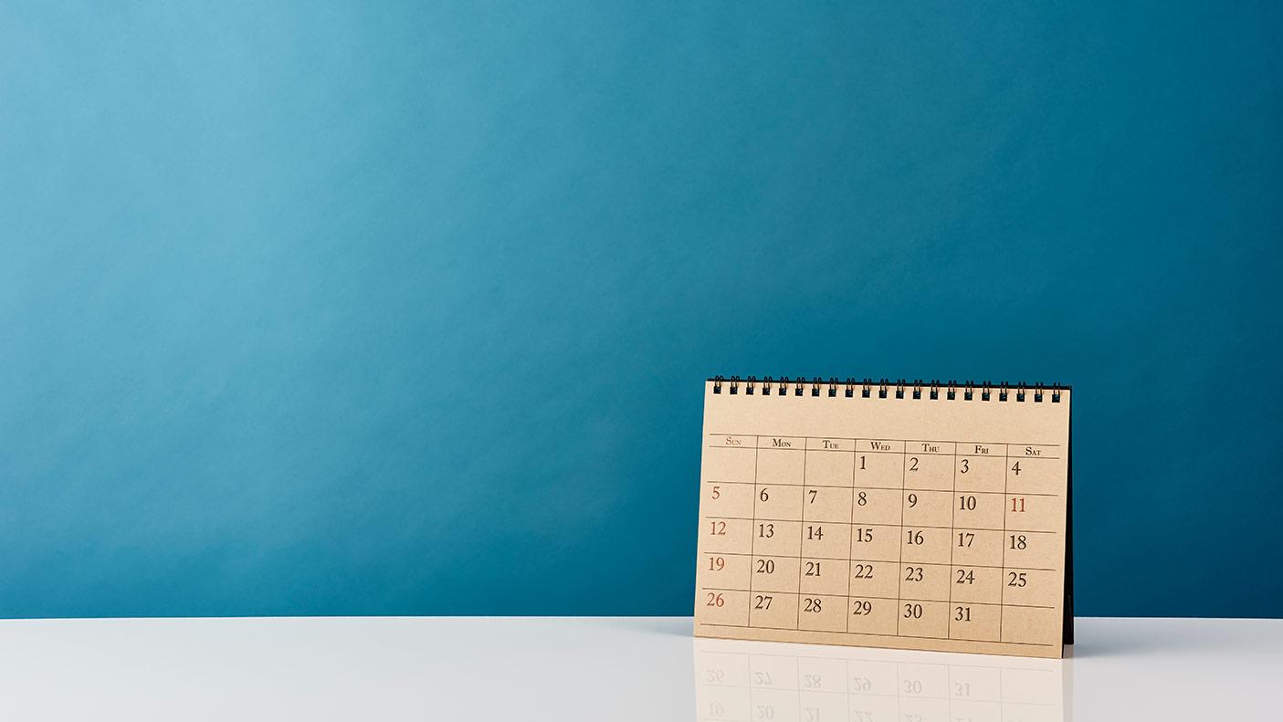Calendar on office desk table