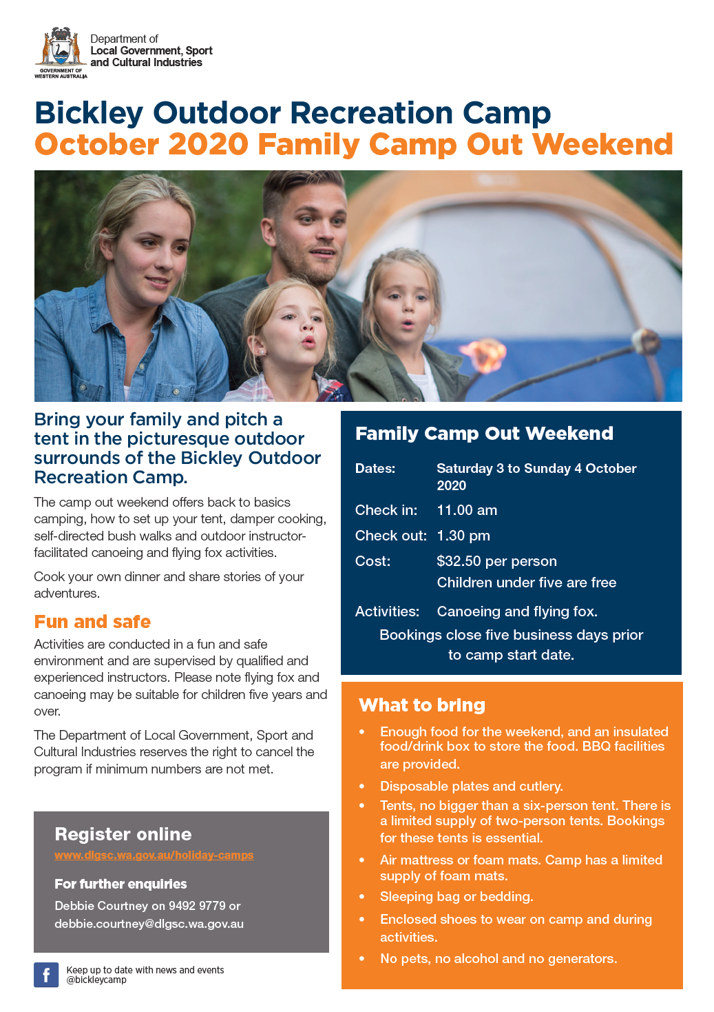 Bickley Family Camp Out October 2020 flyer