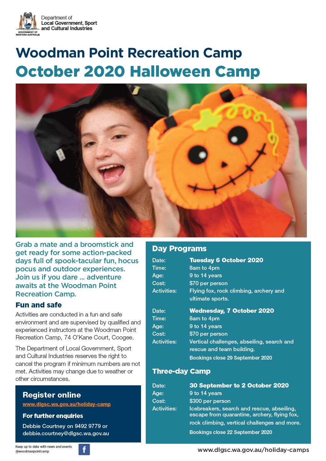Woodman Point Halloween Programs October 2020 flyer