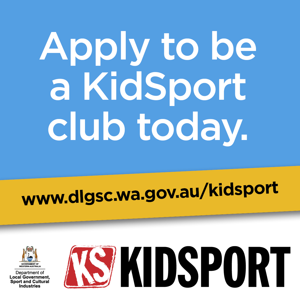 KidSport website image Apply to be a KidSport club today words only