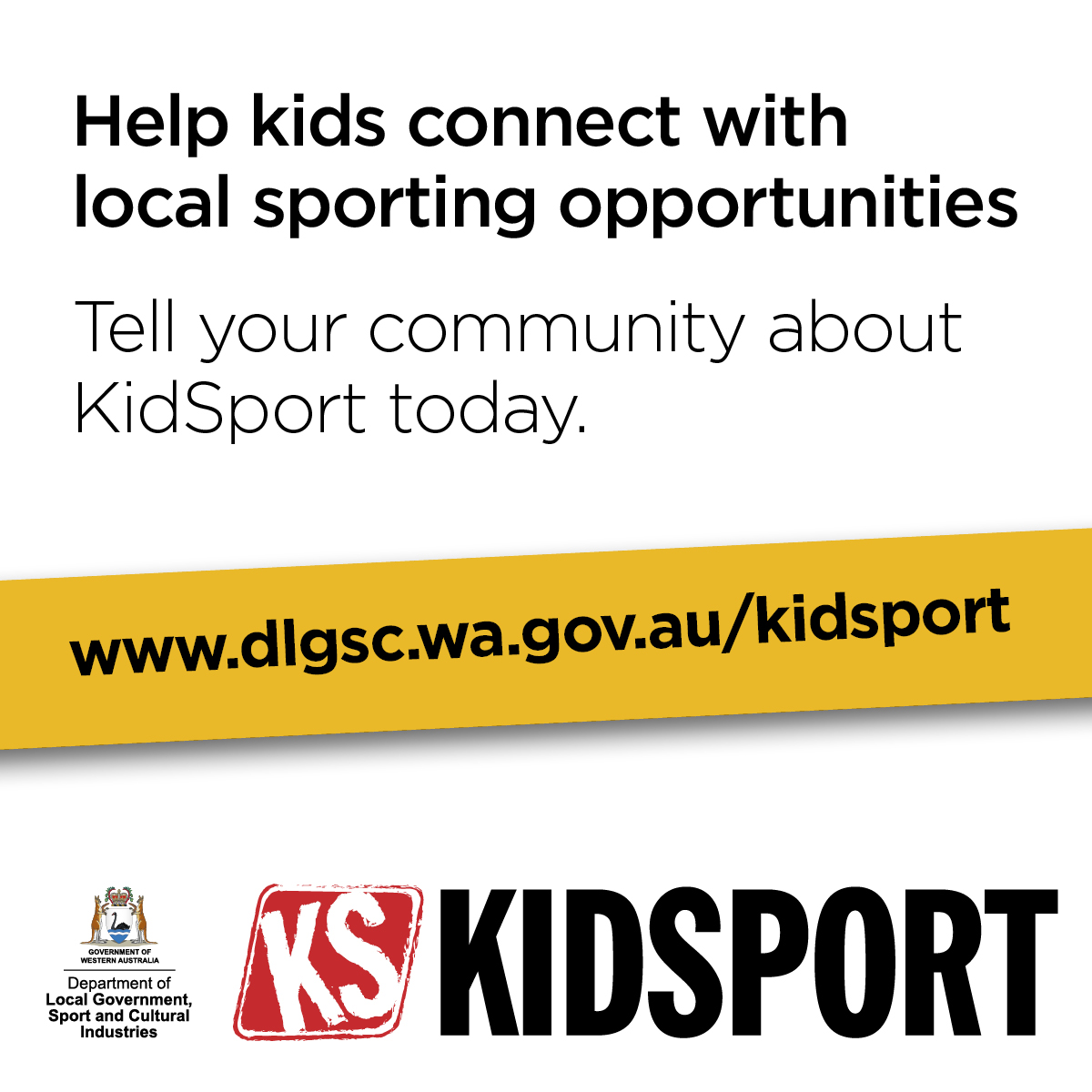 KidSport website image Help kids connect with local sporting opportunities words only