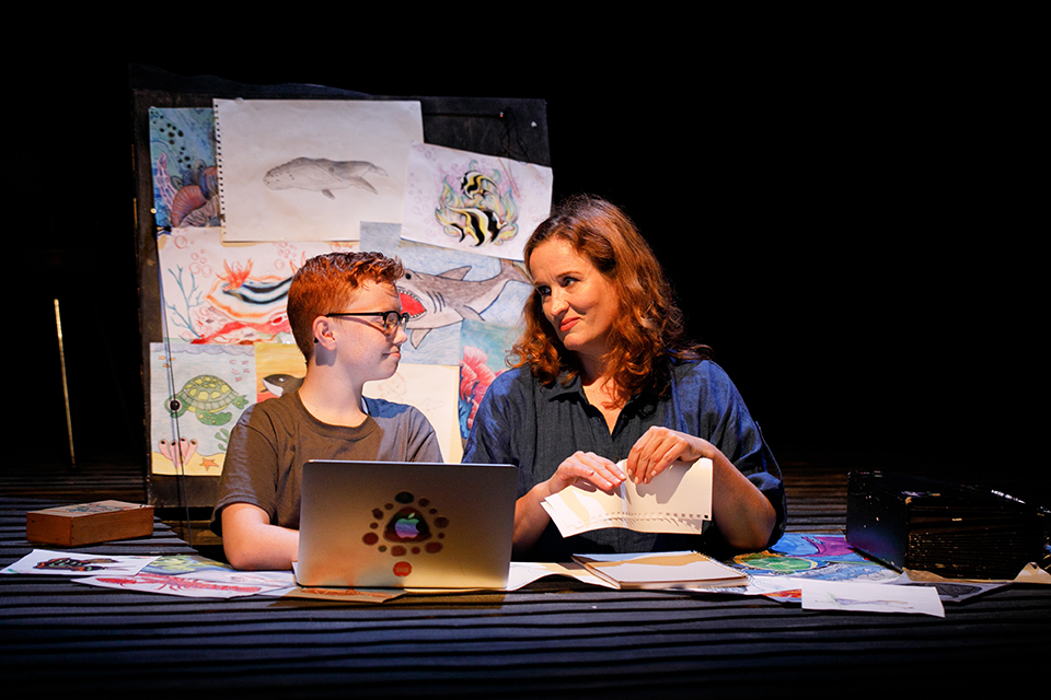 Ashton Brady and Caitlin Beresford-Ord (L-R), in Whale Fall by Ian Sinclair and The Kabuki Drop at Perth International Arts Festival, Perth, February 2021. Photo by Daniel James Grant.