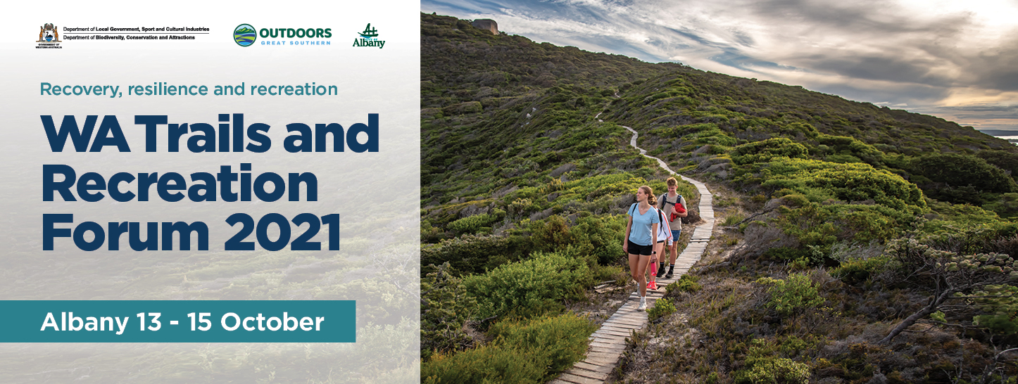 WA Trails and Recreation Forum with an image of people walking on a track