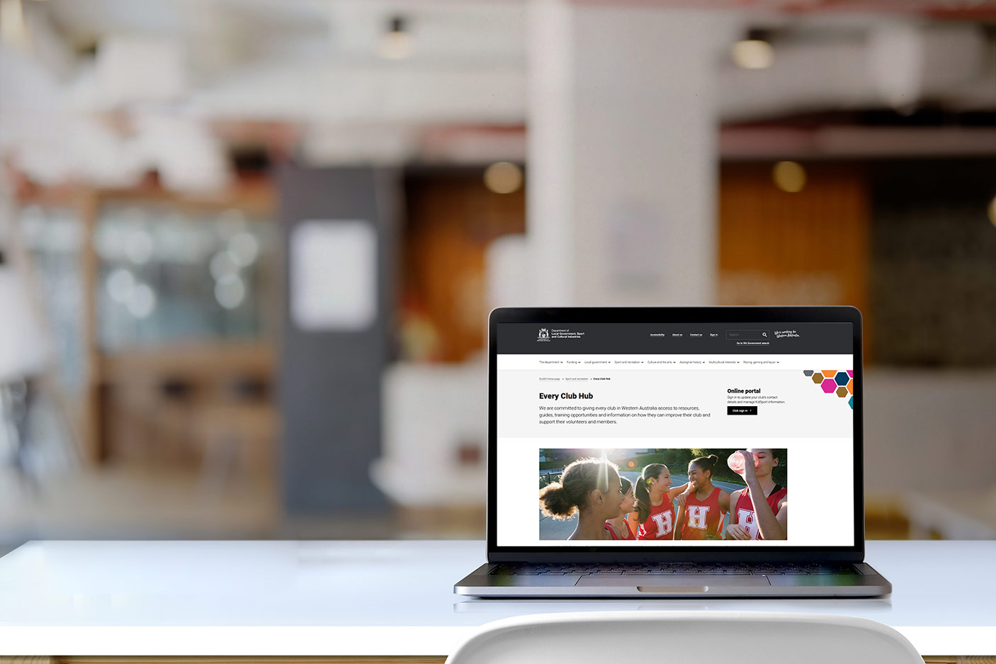 Image of the Every Club Hub displayed on a laptop