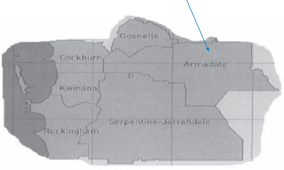 A map of an utline of some southern local government areas with an arrow pointing to Armadale.