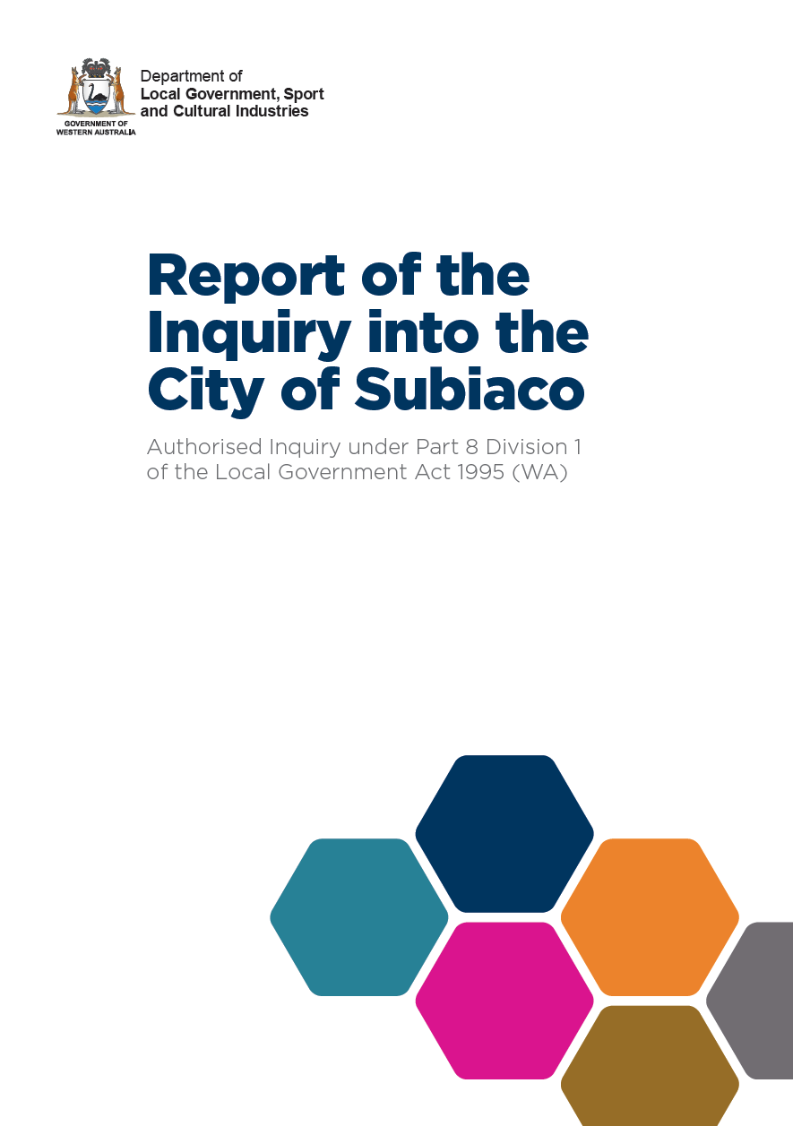 Report of the Inquiry into the City of Subiaco cover
