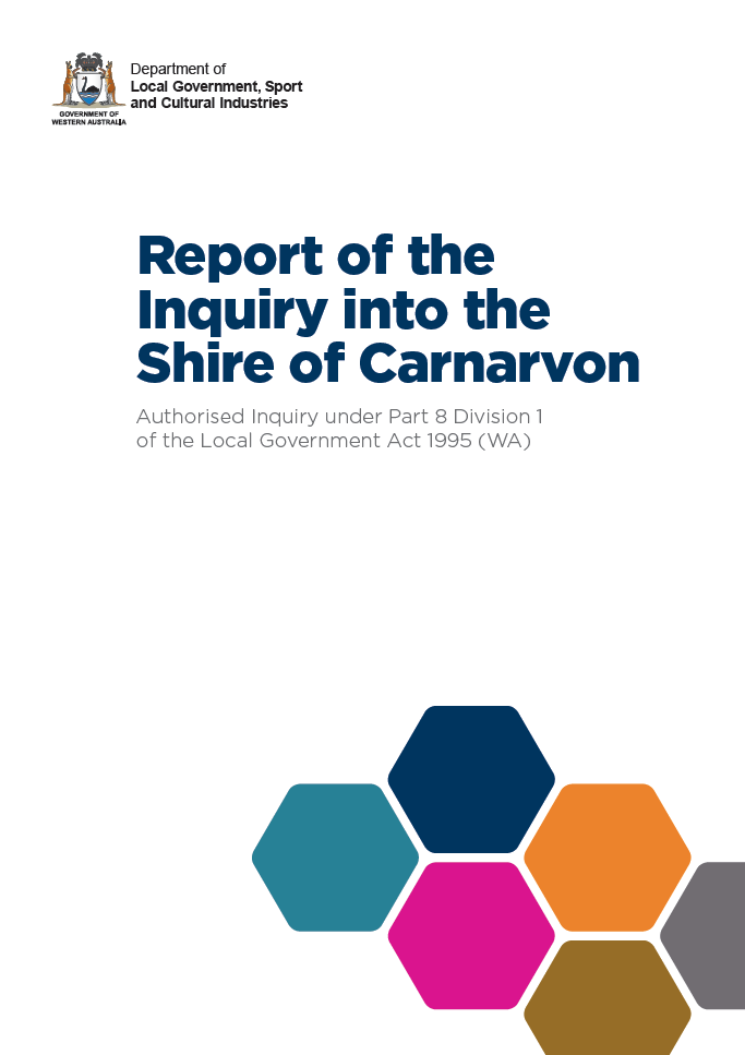 C:\Users\gwhite\DLGSC\DLGSC Website - Documents\Content\Images\Report of the Inquiry into the Shire of Carnarvon cover