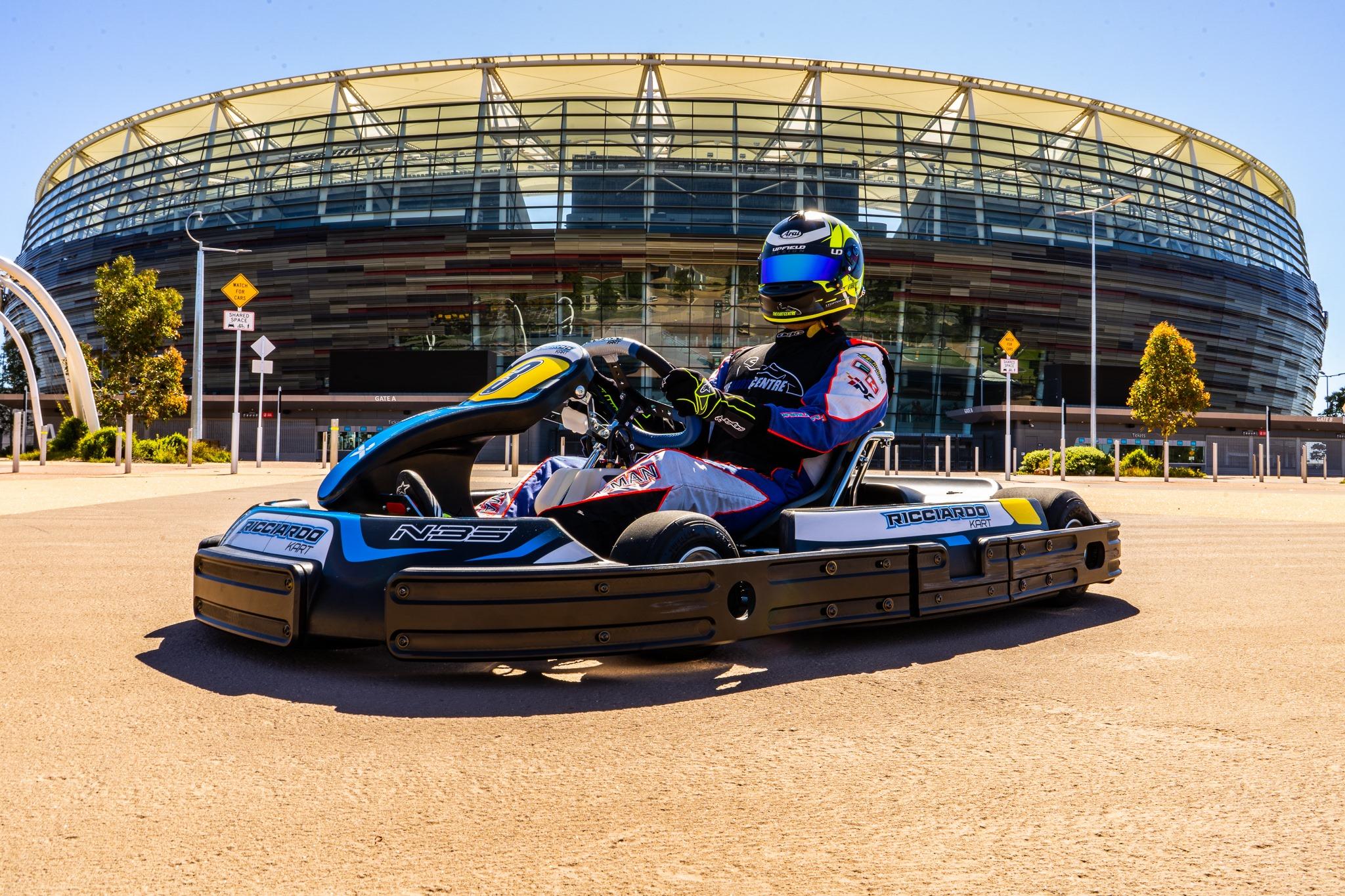 Go kart in front of Optus Stadium