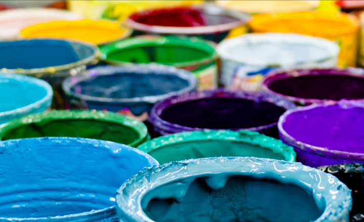 Colourful paint buckets