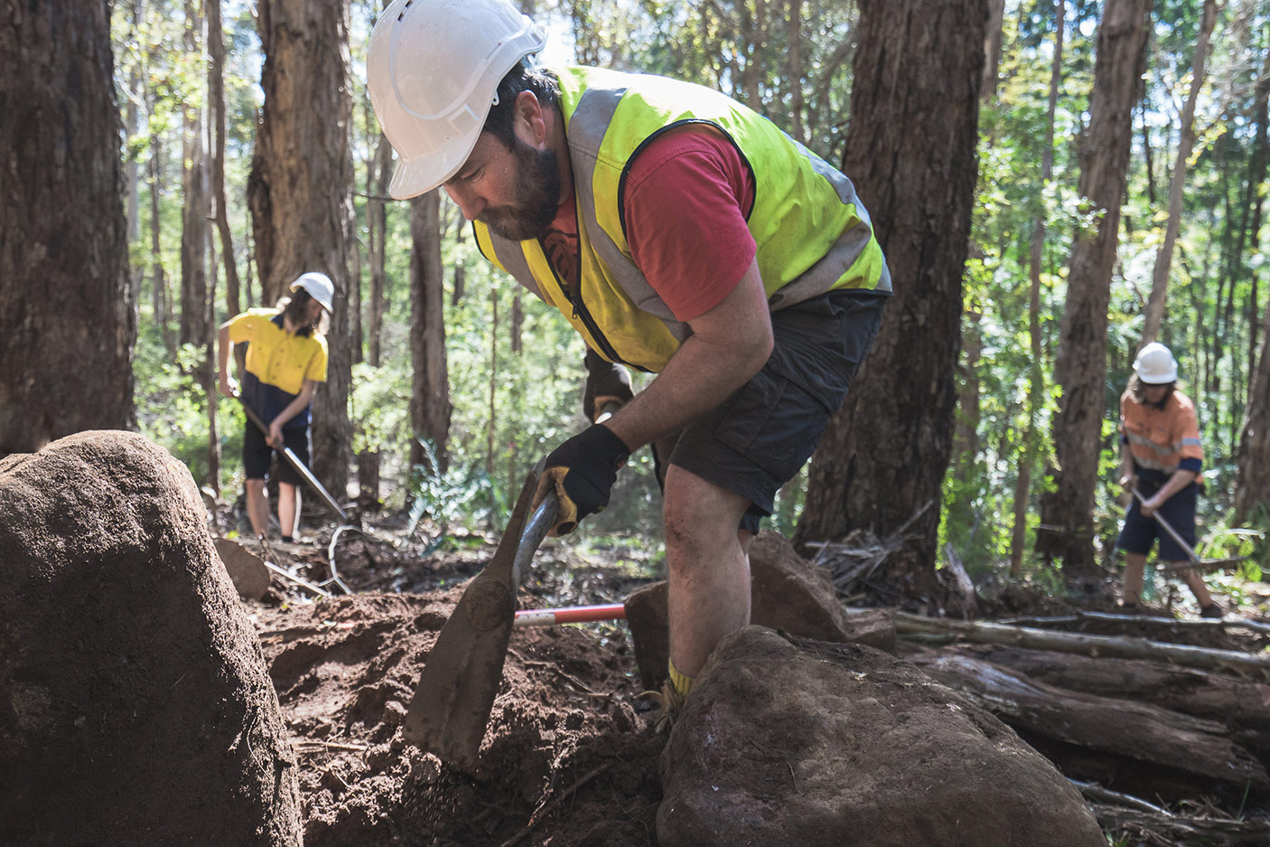 People working on a trail in Margaret River