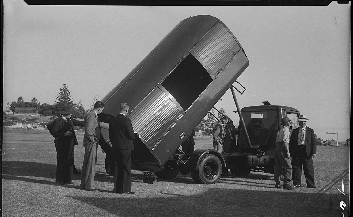 Cottesloe council members inspecting their new rubbish tip truck, 1950.