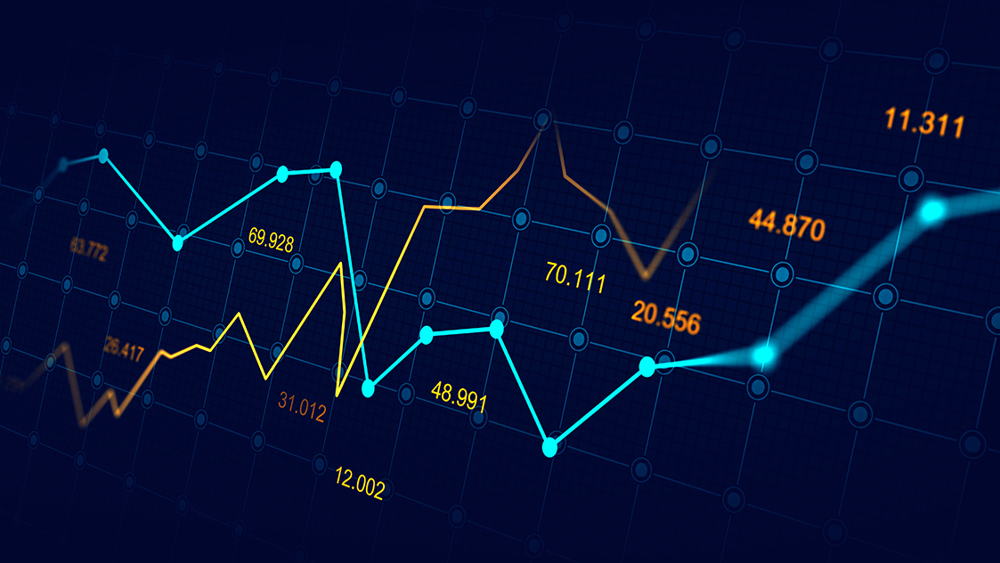 Stock image of financial graphs