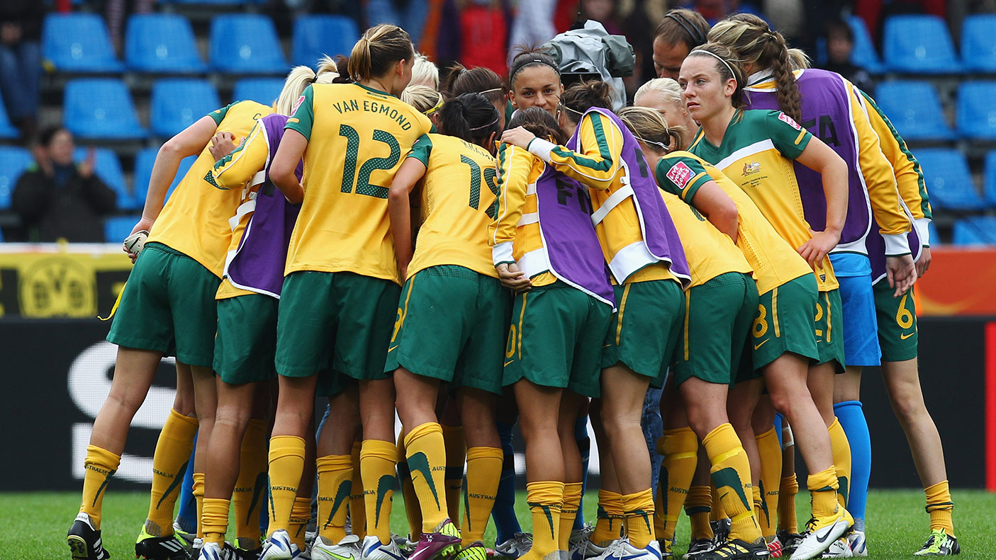 Players of Australia huddle after the FIFA Women's World Cup 2011 Group D match between Australia and Equatorial Guinea at the Fifa Womens World Cup Stadium.