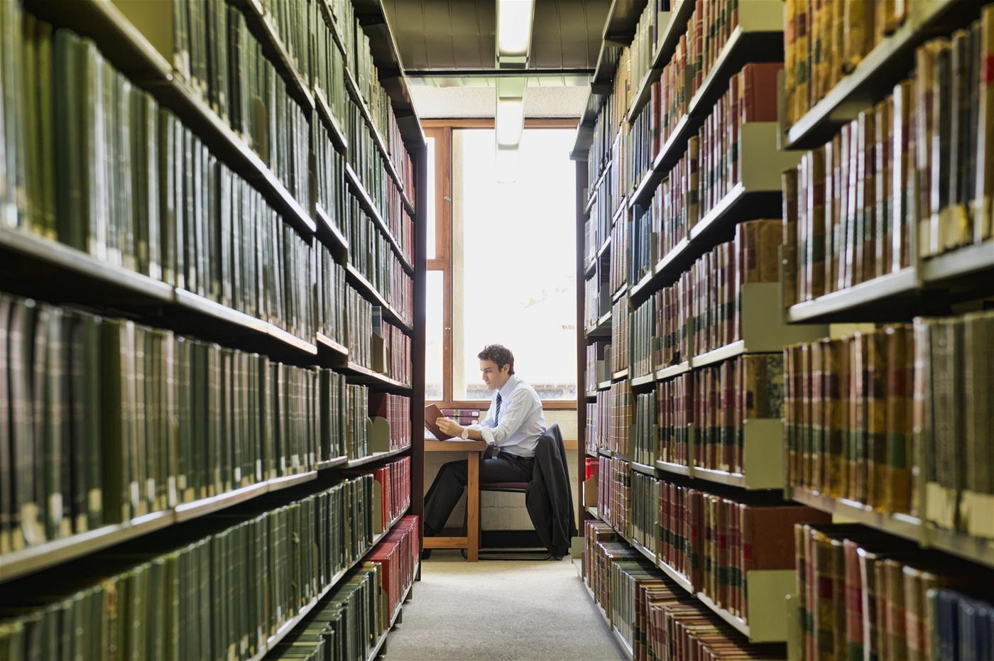 Man sitting in a library