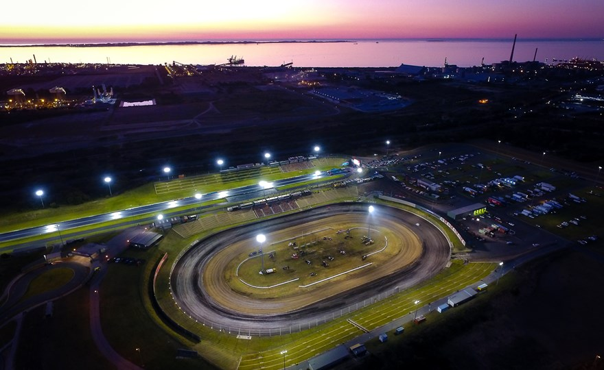 Perth Motorplex at dusk