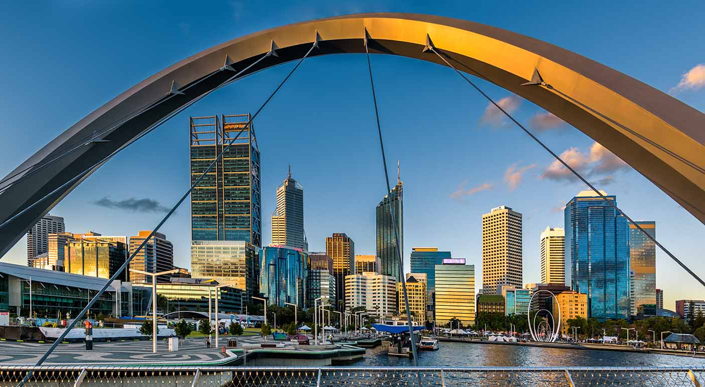 Perth Skyline from Cable-stayed pedestrian bridge - stock photo