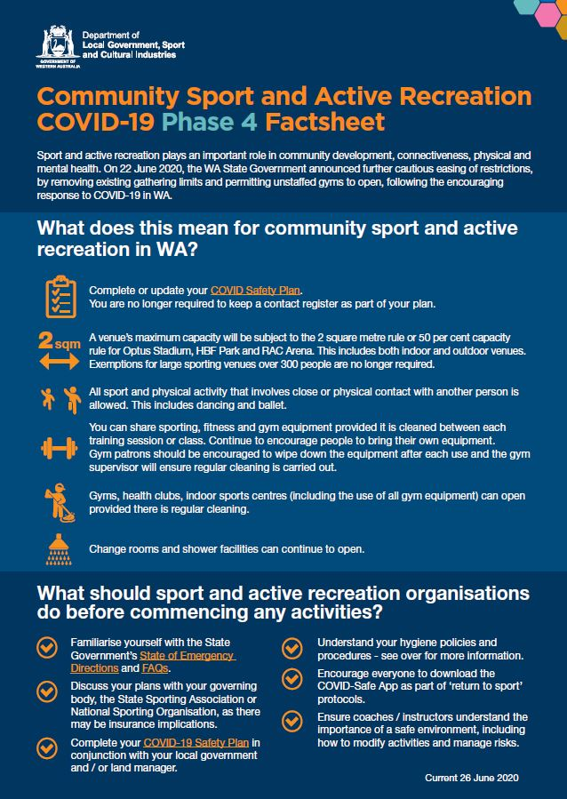 Community Sport and Active Recreation COVID-19 Phase 4 Factsheet