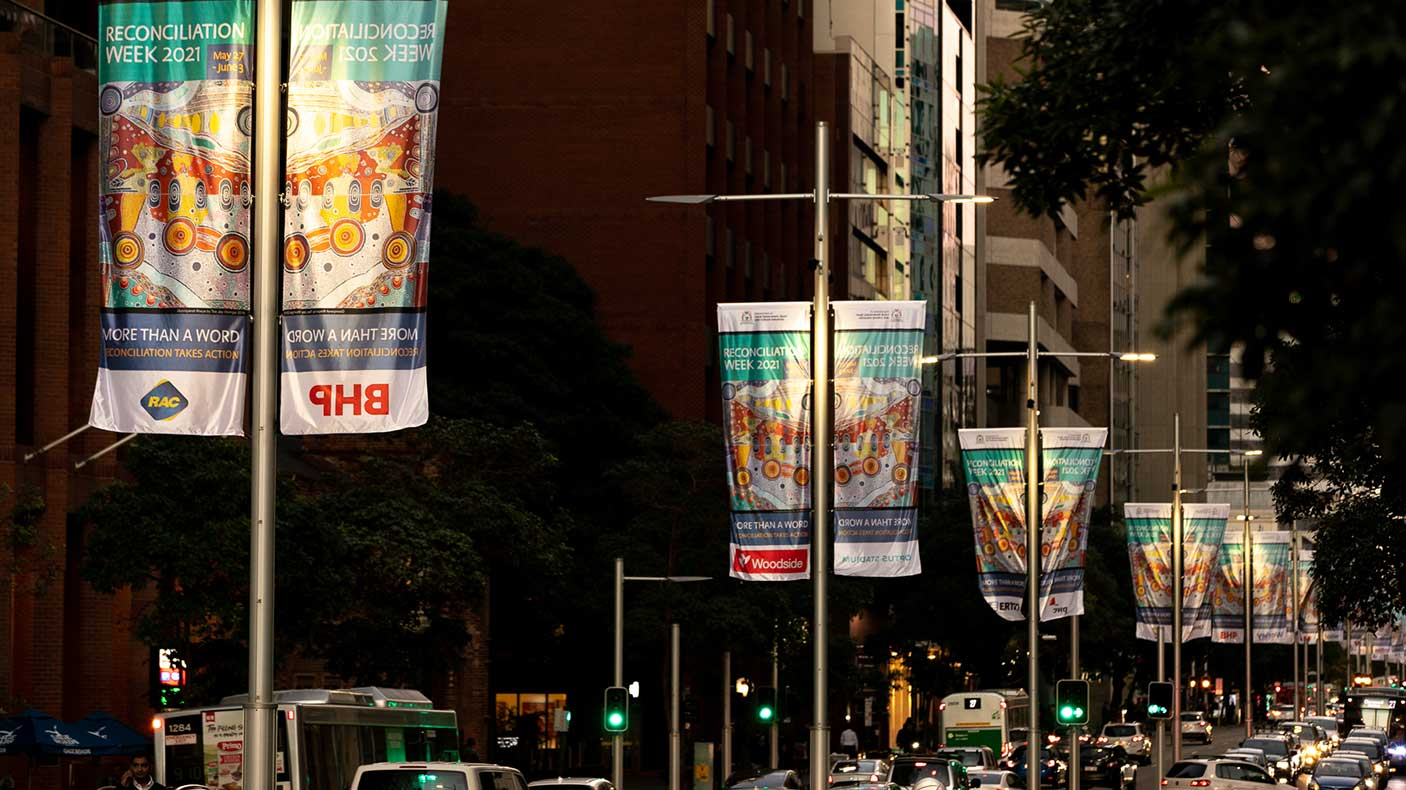 Reconciliation banners on St Georges Terrace, Perth