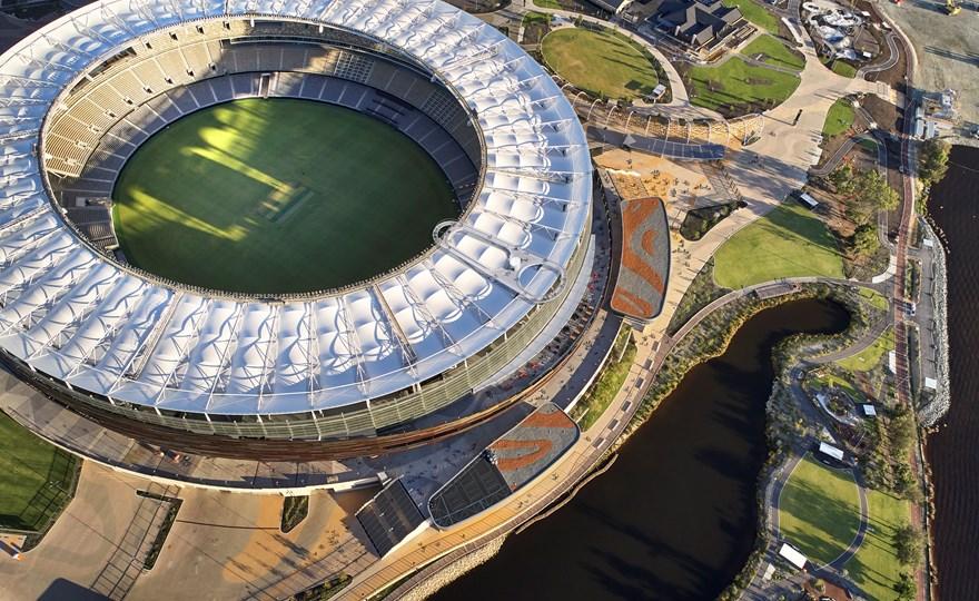 Aerial view of Optus Stadium