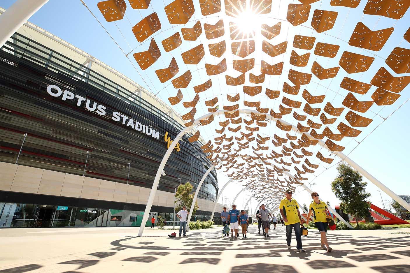 Spectators arrive at Optus Stadium