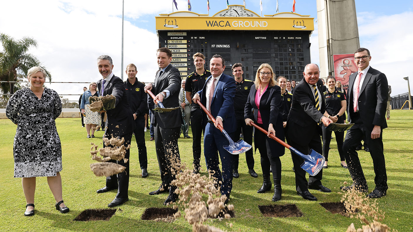 People pose during the ground redevelopment sod-turning ceremony at the WACA on August 19, 2021 in Perth, Australia.