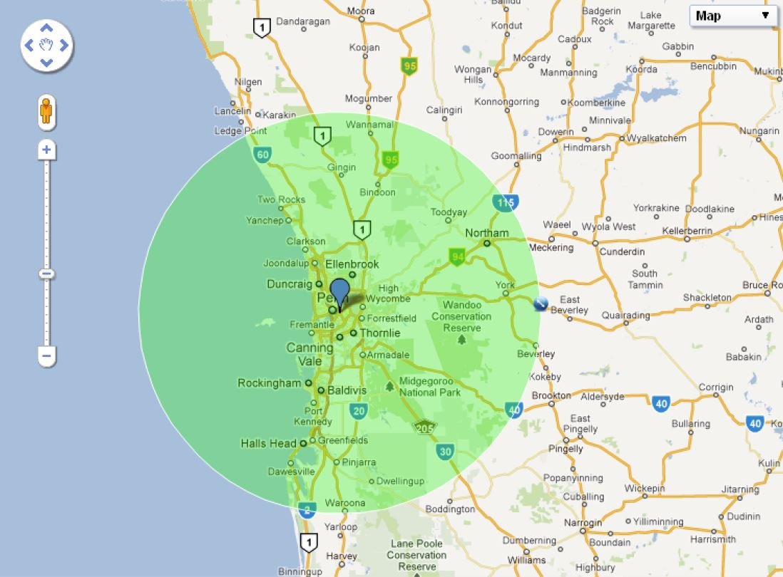 100km radius map of Perth, Western Australia