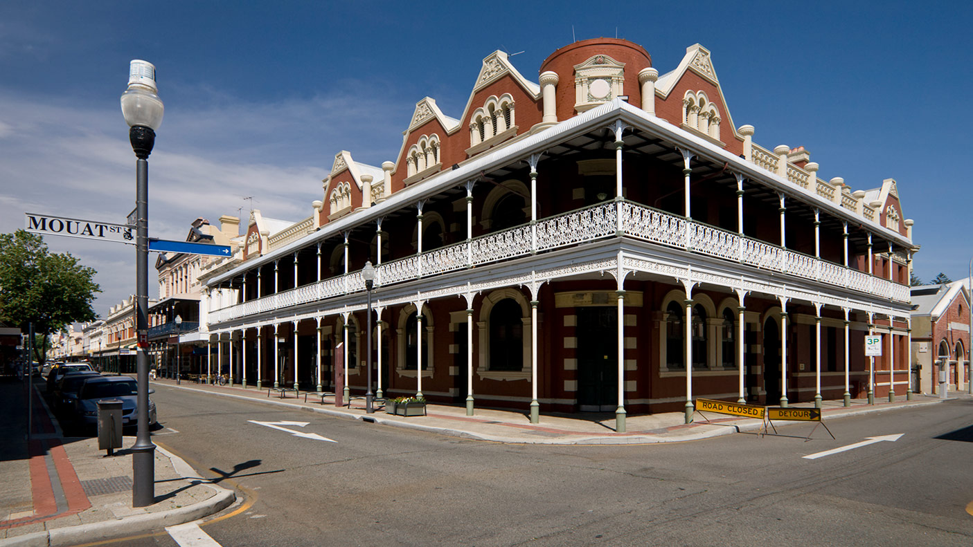 The beautiful historic buildings of the bustling port town of Fremantle in Western Australia.