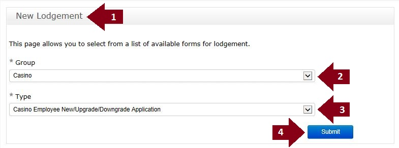 Casino Employee Licence application lodgement guide