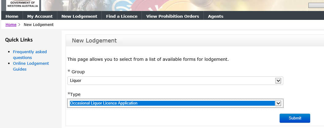 New lodgement Occasional Liquor Licence step 2 screenshot