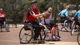A wheelchair basketballer