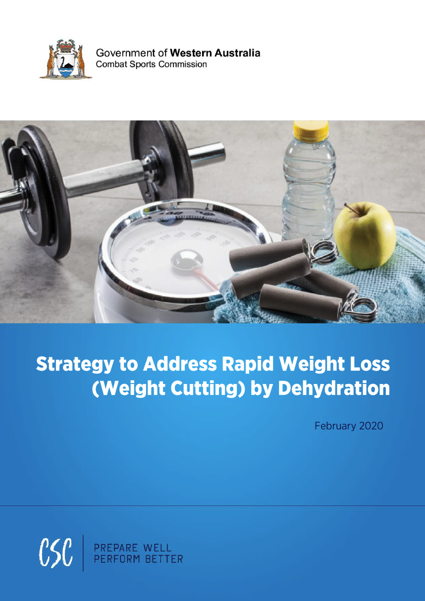 C:\Users\gwhite\DLGSC\DLGSC Website - Documents\Content\Sport and recreation\Strategy to Address Rapid Weight Loss (Weight Cutting) by Dehydration cover