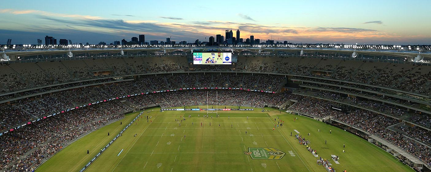 A general view of play during the round one NRL match between the Canterbury Bulldogs and the Melbourne Storm at Optus Stadium on March 10, 2018 in Perth, Australia. (Photo by Paul Kane/Getty Images)