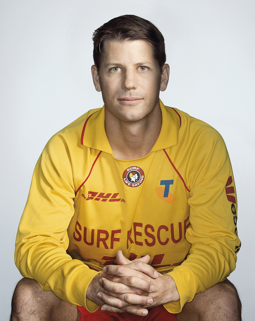 Portrait of Kim Wallis in his surf lifesaving unifrom