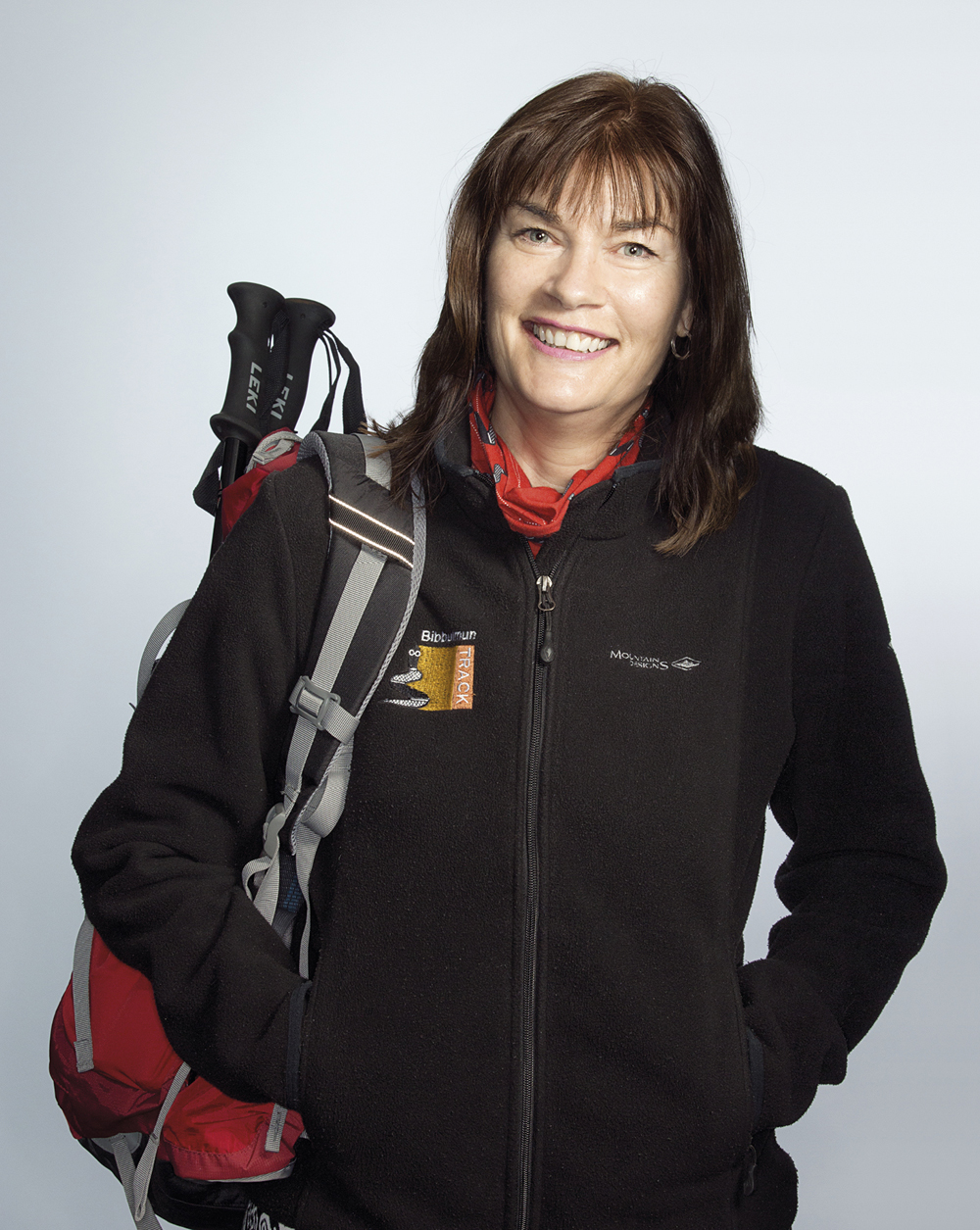 Portrait of Linda Daniels with hiking gear