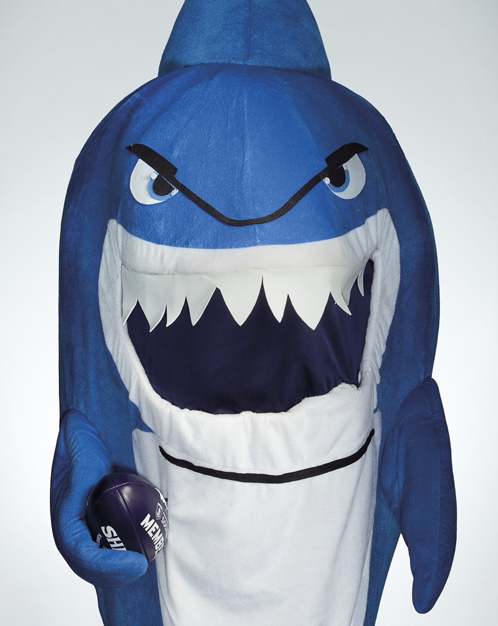 Portrait of Lynette Smith wearing a shark costume