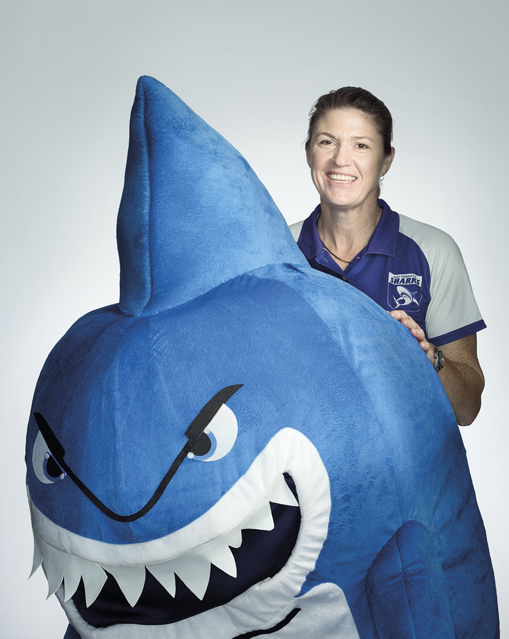 Portrait of Lynette Smith with a shark costume