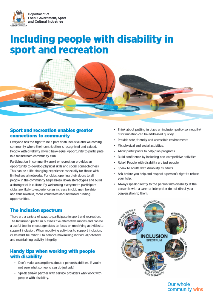 Including people with disability in sport and recreation cover