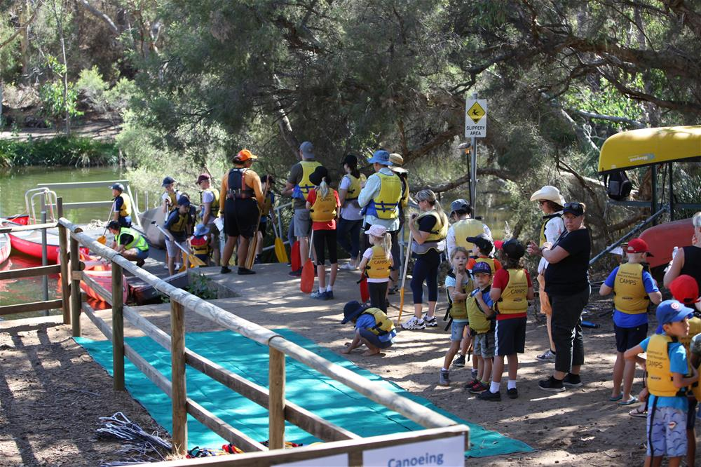 People lining up to go canoeing at the Bickley Open Day 2019