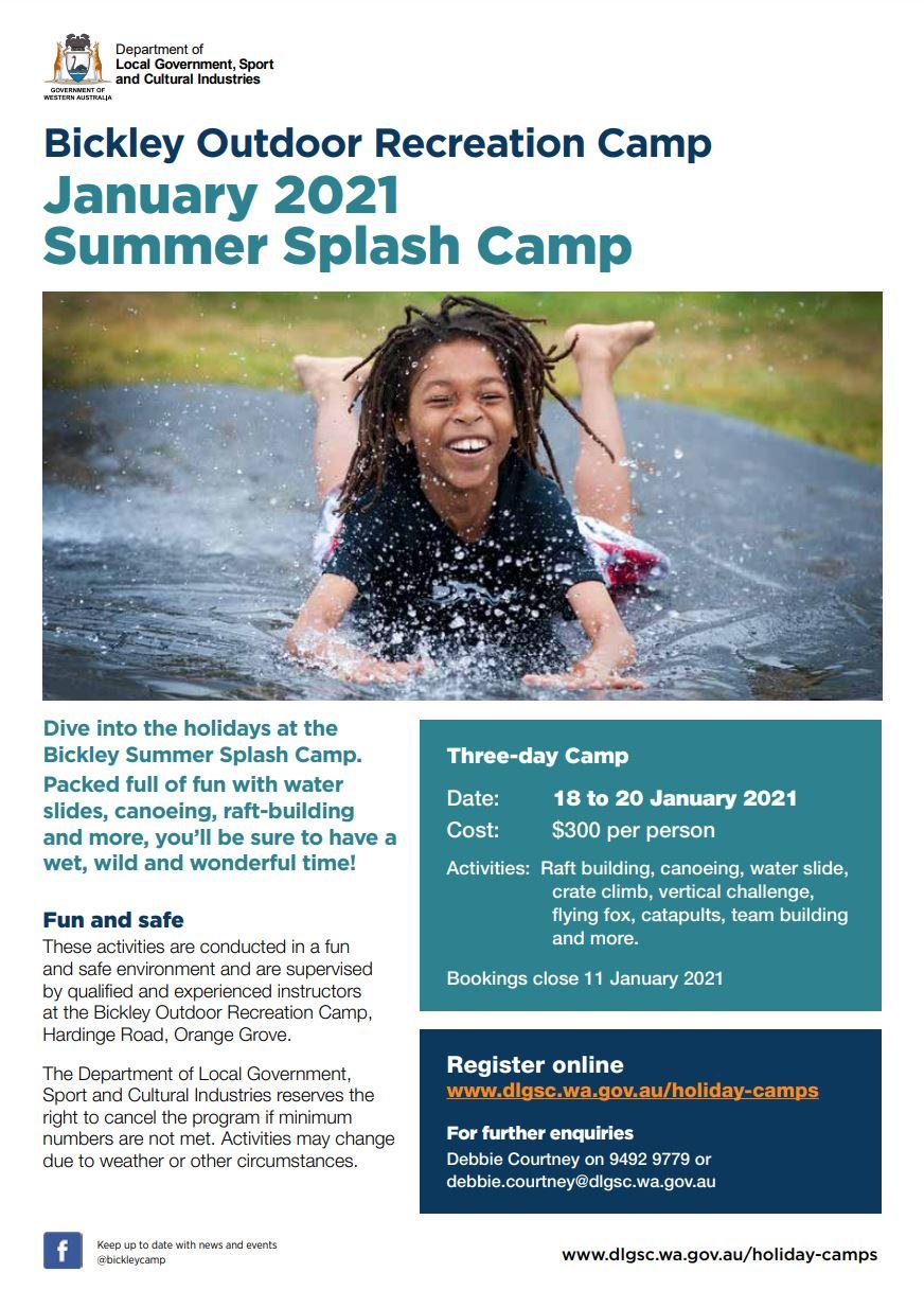 Bickley Summer Splash January 2021 flyer