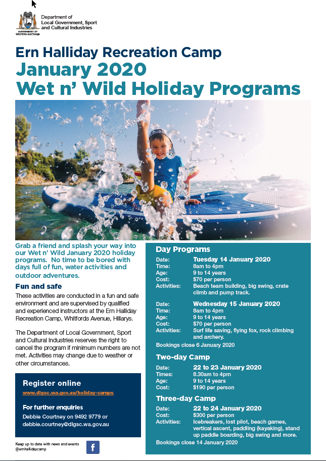 Ern Halliday Wet n Wild Jan 2020 flyer