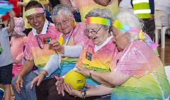 Seniors playing with a ball