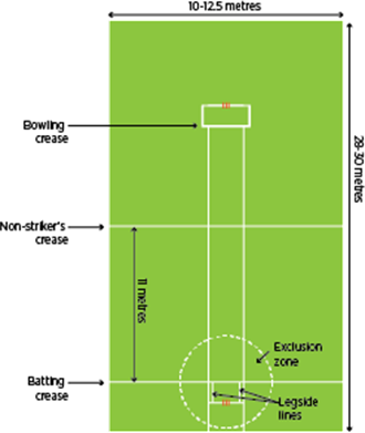 indoor cricket pitch dimensions