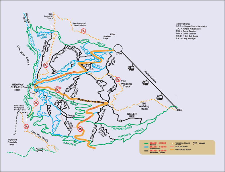 Mountain bike track map in Queenstown New Zealand