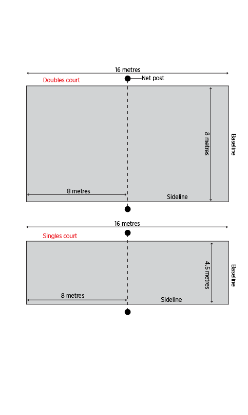 Singles and doubles beach tennis court dimensions