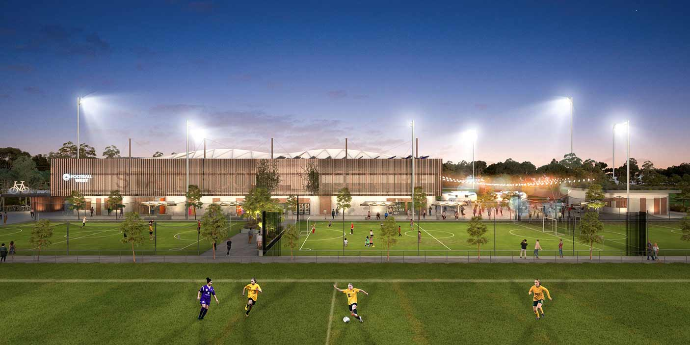 Artist impression of the State Football Centre showing players in the foreground and the building in the background