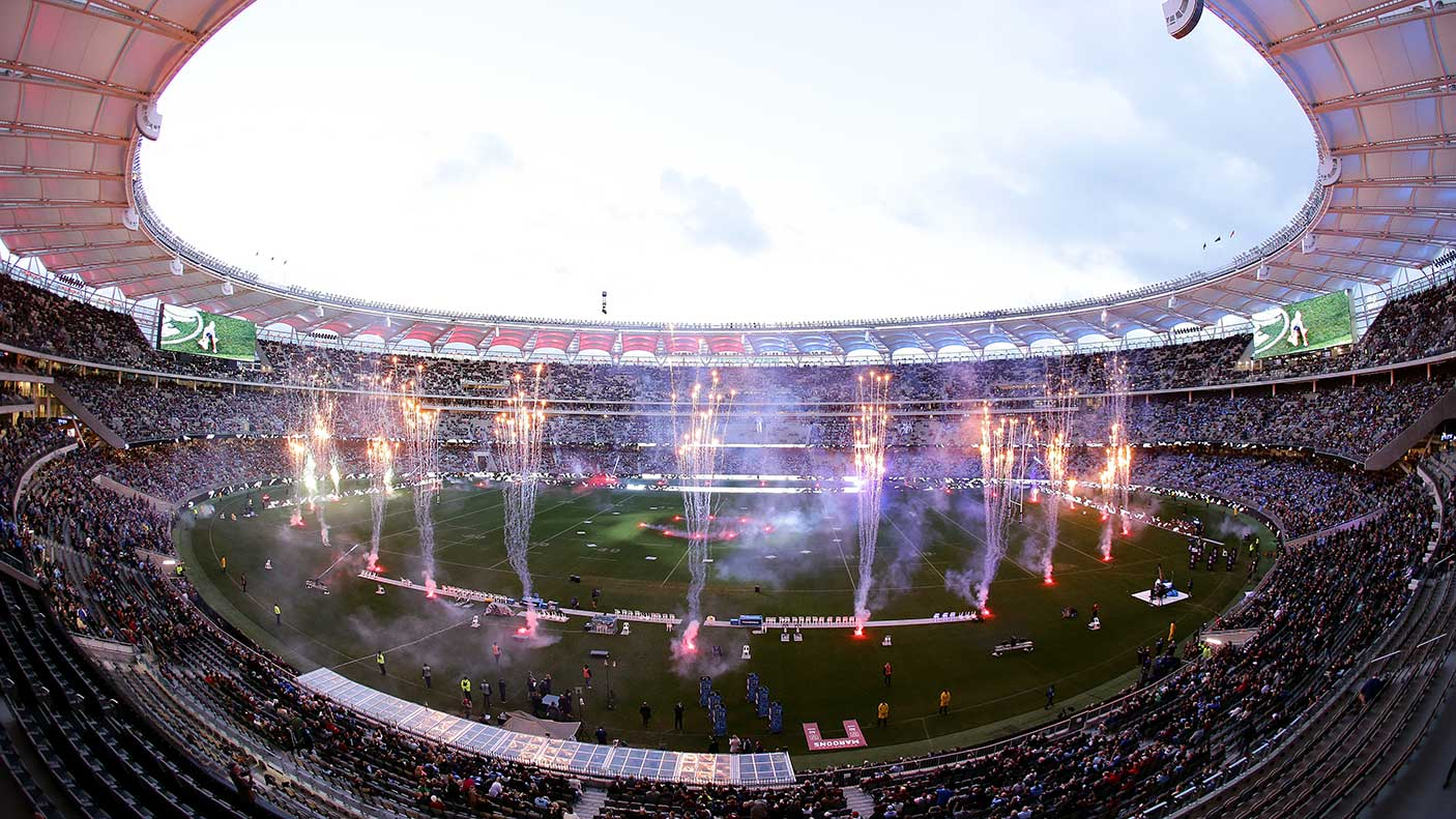 State of Origin game at Optus Stadium showing pyrotechnics